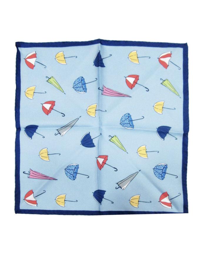 Picture of Hemley Blue Umbrella Print Pocket Square