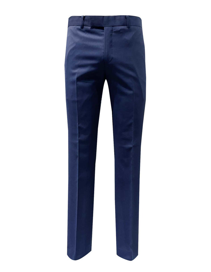 Picture of Studio Italia Stretch Slim Blue Textured Trouser