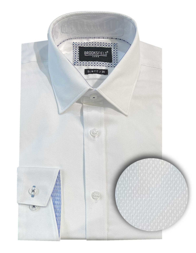 Picture of Brooksfield White Diamond Jacquard Luxe Shirt