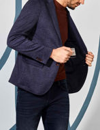 Picture of No Excess Navy Check Jersey Blazer Jacket