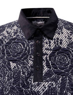 Picture of Pearly King Navy Floral Weave Knitted Polo