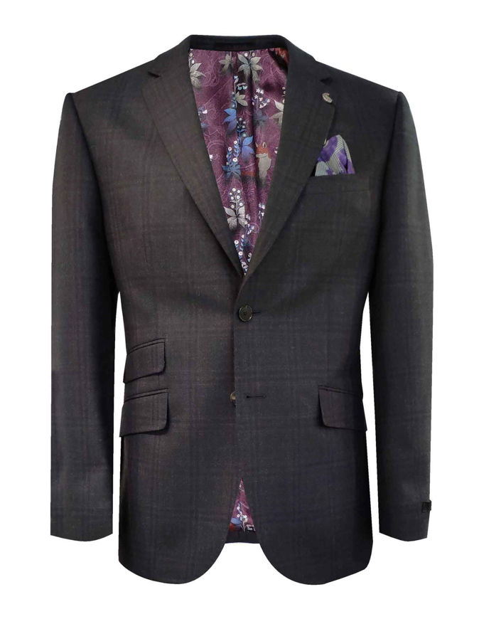 Picture of Ted Baker Navy Suit with Brown OverCheck