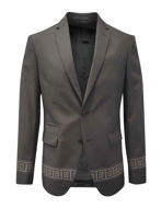 Picture of Versace Charcoal Greek Tape Patterned Trend Suit