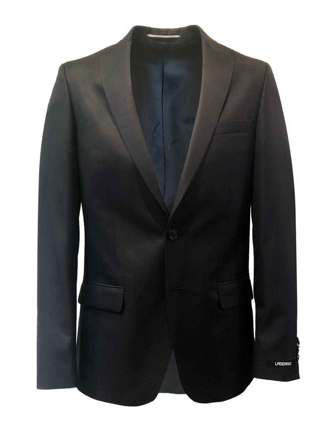 Picture of Lagerfeld Black Polished Pinstripe Suit