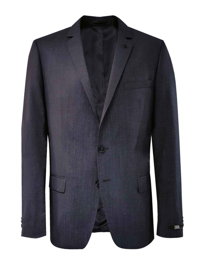 Picture of Karl Lagerfeld Navy Pinhead Wool Suit