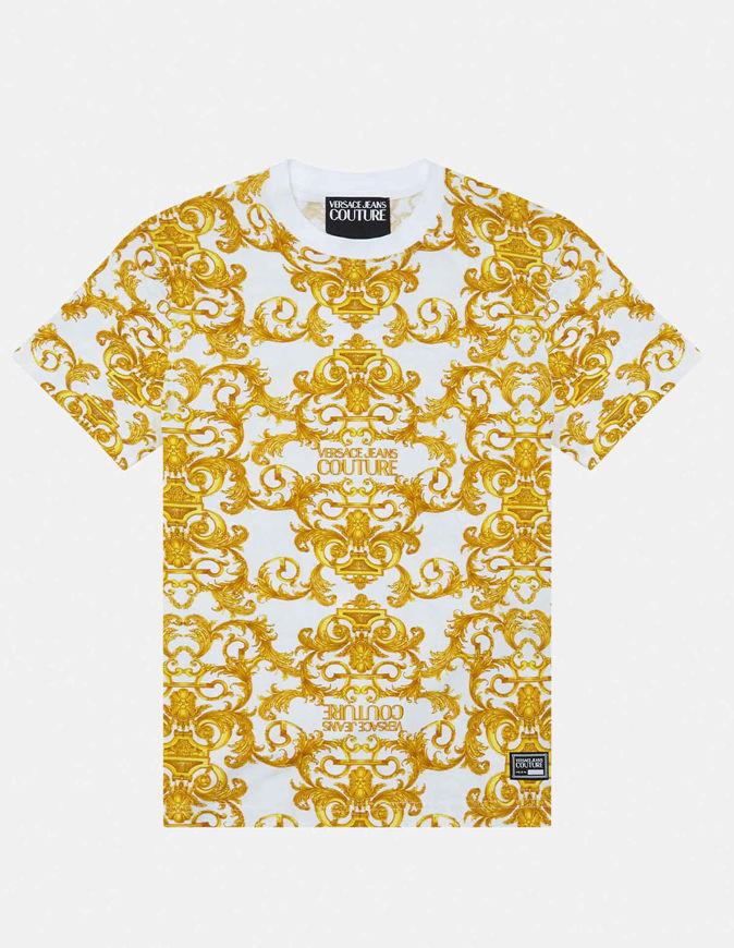 Picture of Versace White Logo Baroque Print Slim Tee