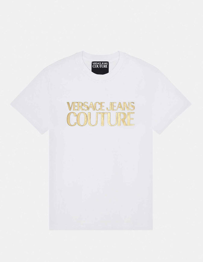 Picture of Versace Gold Logo Embossed White Slim Tee