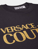 Picture of Versace Gold Logo Embossed Black Slim Tee