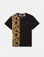 Picture of Versace Black Logo Baroque Contrast Print Regular Tee