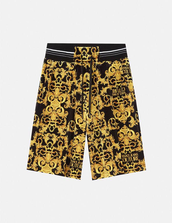 Picture of Versace Logo Baroque Velvet Sweat Shorts