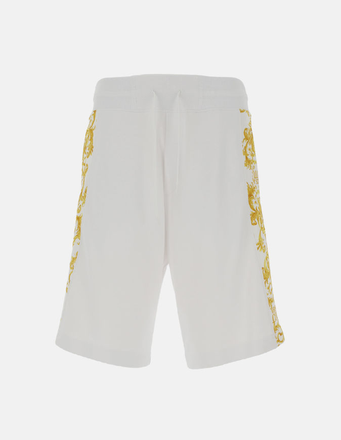 Picture of Versace Logo Baroque White Sweat Shorts