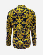 Picture of Versace Black Logo Baroque Twill Slim Shirt