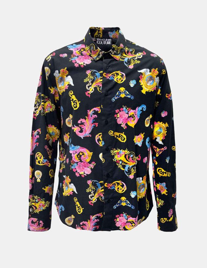 Picture of Versace Black Rococo Print Slim Shirt