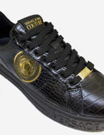 Picture of Versace Black Logo Crocodile Court Sneakers