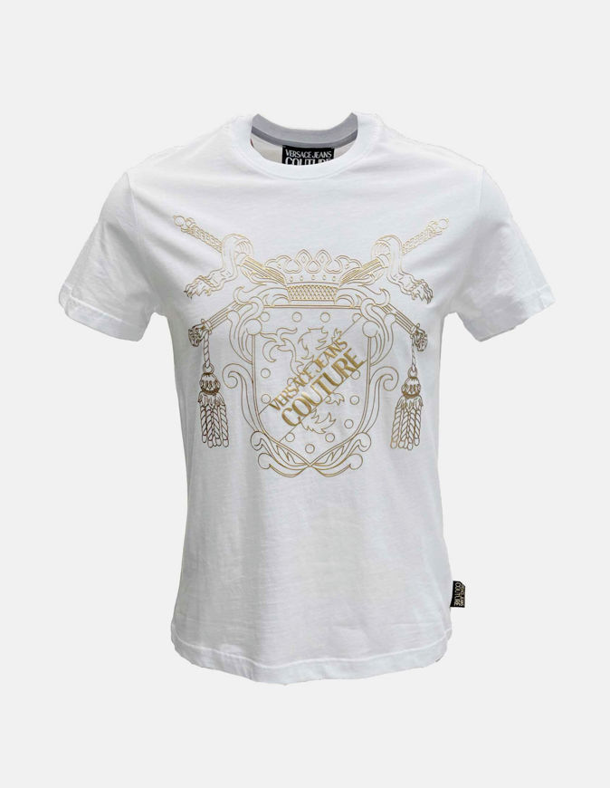 Picture of Versace Shield Embossed White Slim Tee