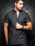 Picture of Au Noir Filo Cotton Black Short Sleeve Shirt