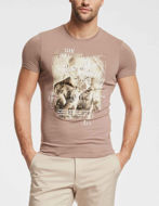 Picture of Gaudi Taupe Multi Colour Print Short Sleeve Tee