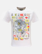 Picture of Gaudi White Multi Colour Print  Short Sleeve Tee