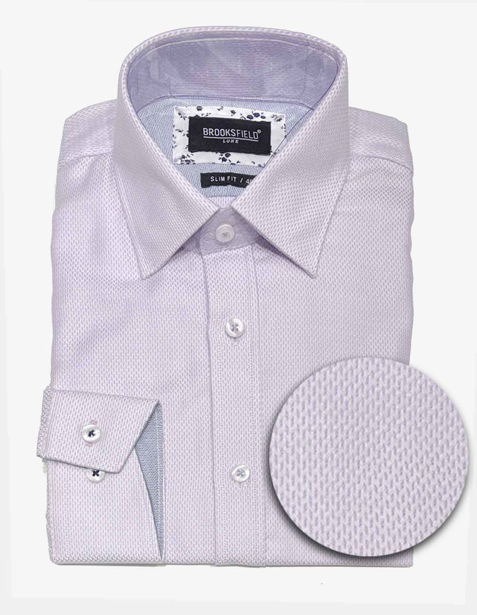Picture of Brooksfield Lilac Textured Dobby Luxe Shirt
