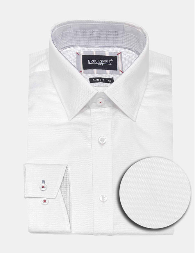 Picture of Brooksfield Textured Luxe White Shirt