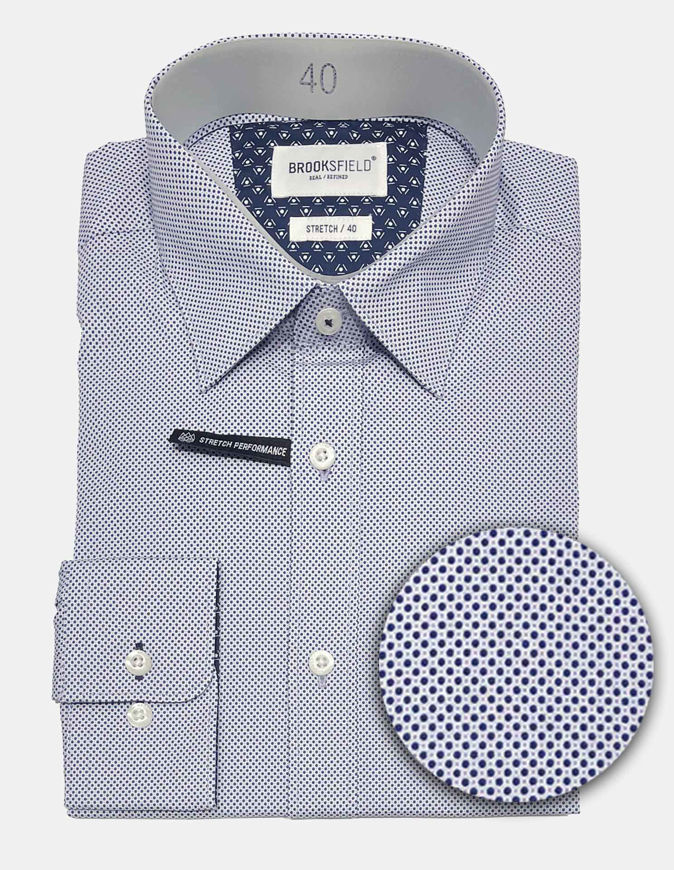 Picture of Brooksfield Real Dot Print Blue Stretch Shirt