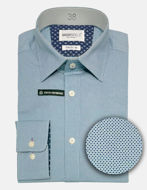 Picture of Brooksfield Real Dot Print Teal Stretch Shirt
